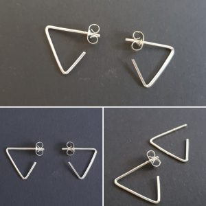 Open end triangle earring stud