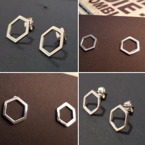 Hollow honeycomb earring stud