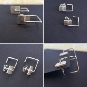 Hollow shaped earring square with stud